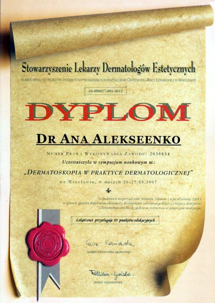 Dermatoskopia w praktyce dermatologicznej - dyplom