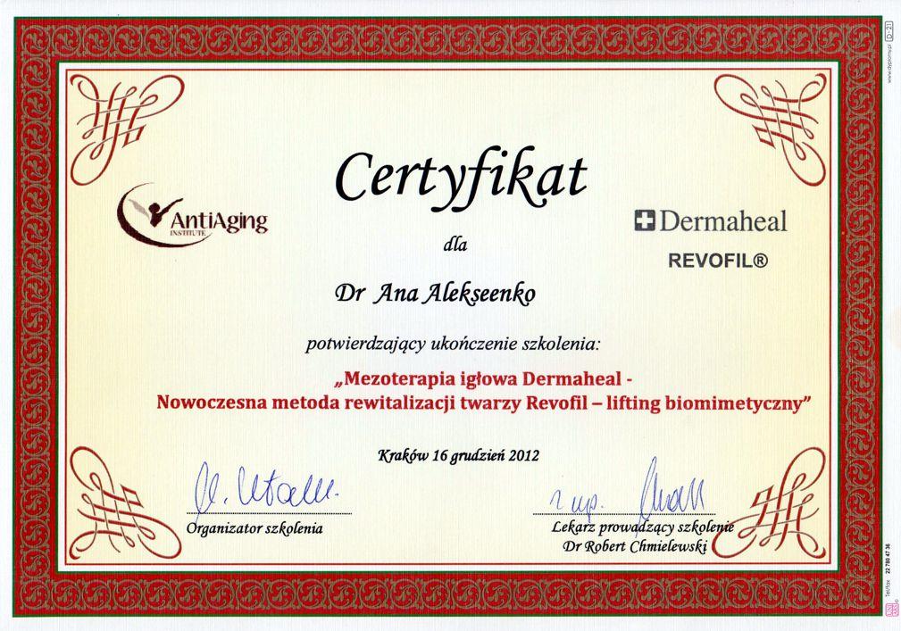 Mezoterapia igłowa Dermaheal - Dyplom