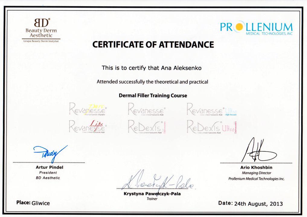 Dermal Filler Training Course - certyfikat