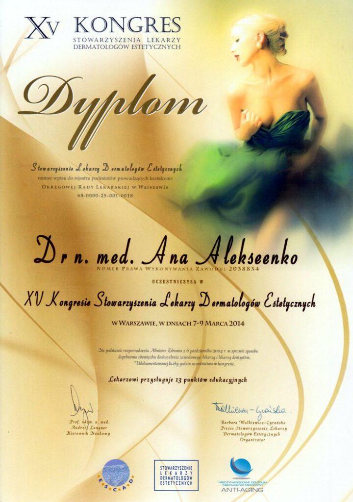 XV Kongres Stowarzyszenia Lekarzy Dermatologów Estetycznych - Dyplom