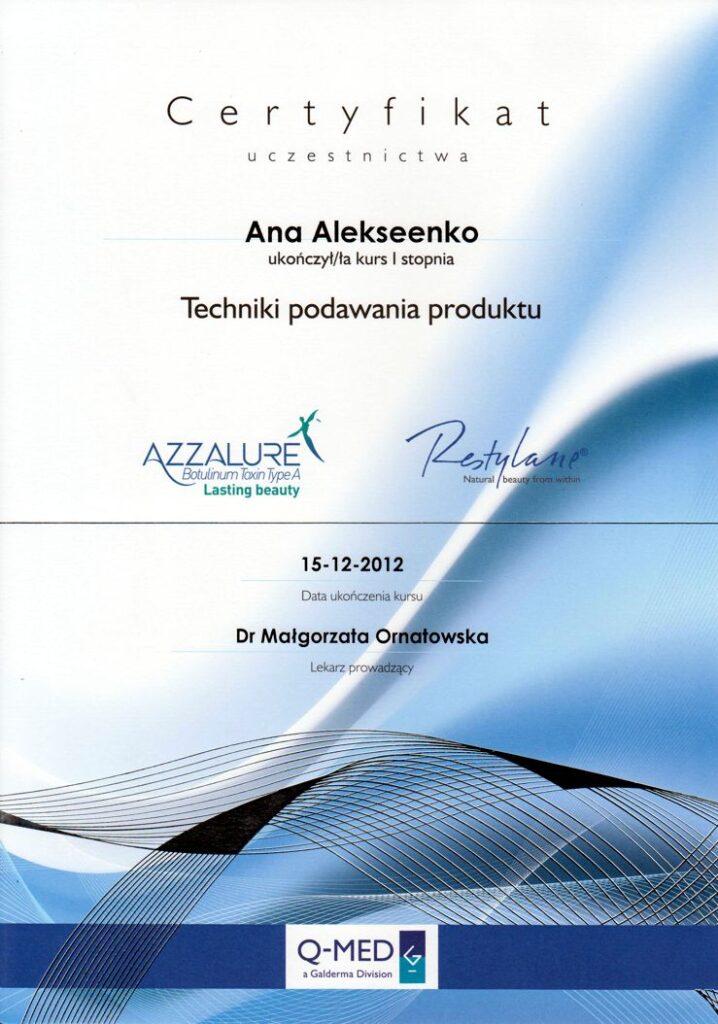 Techniki podawania produktu Azzalure Restylane - Certyfikat