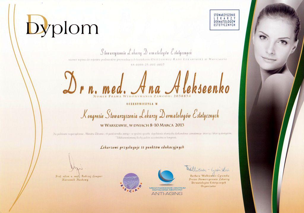 Kongres Stowarzyszenia Lekarzy Dermatologów Estetycznych - Dyplom