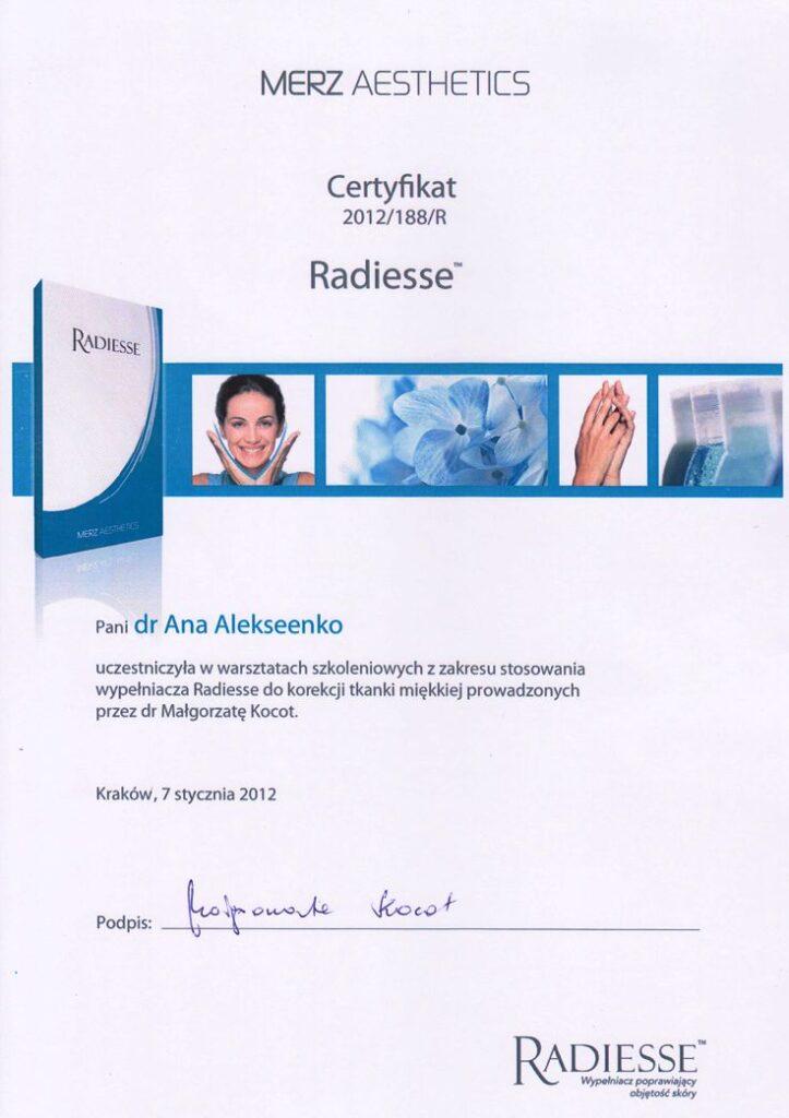 Warsztaty szkoleniowe z zakresu stosowania wypełniacza Radiesse do korekcji tkanki miękkiej - Certyfikat