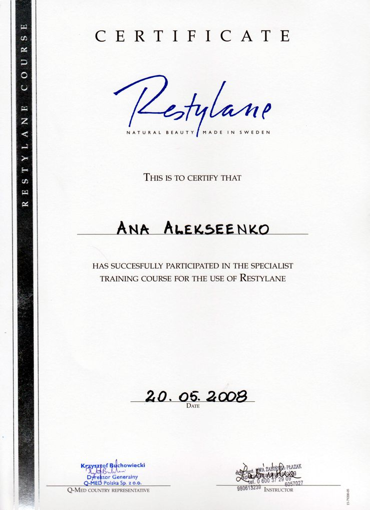 Specialist training course for the use of Restylane - Certyfikat