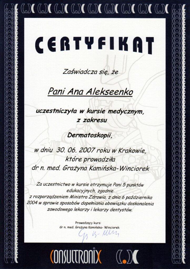 Kurs medyczny z zakresu Dermatoskopii - Certyfikat