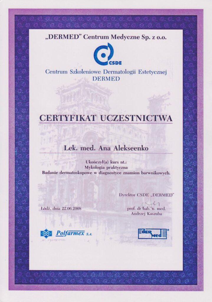 Mykologia praktyczna Badanie dermatoskopowe w diagnostyce znamion barwnikowych - Certyfikat