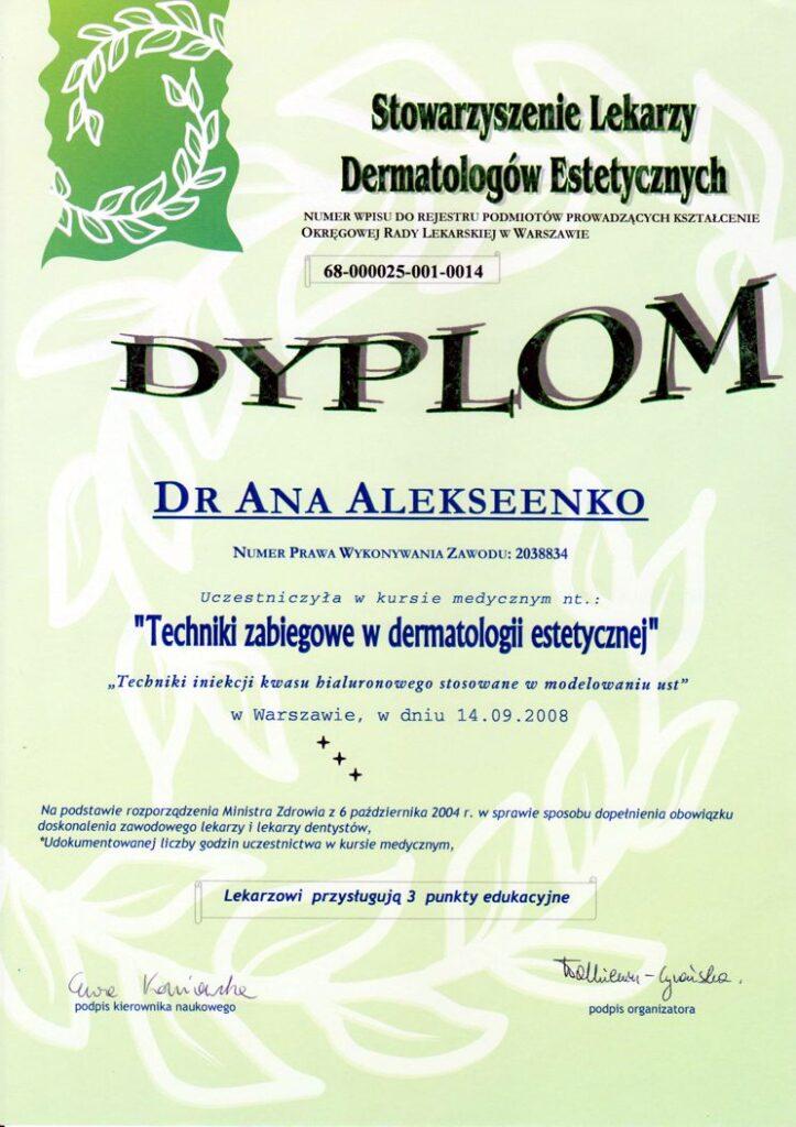 Techniki zabiegowe w dermatologii estetycznej - dyplom