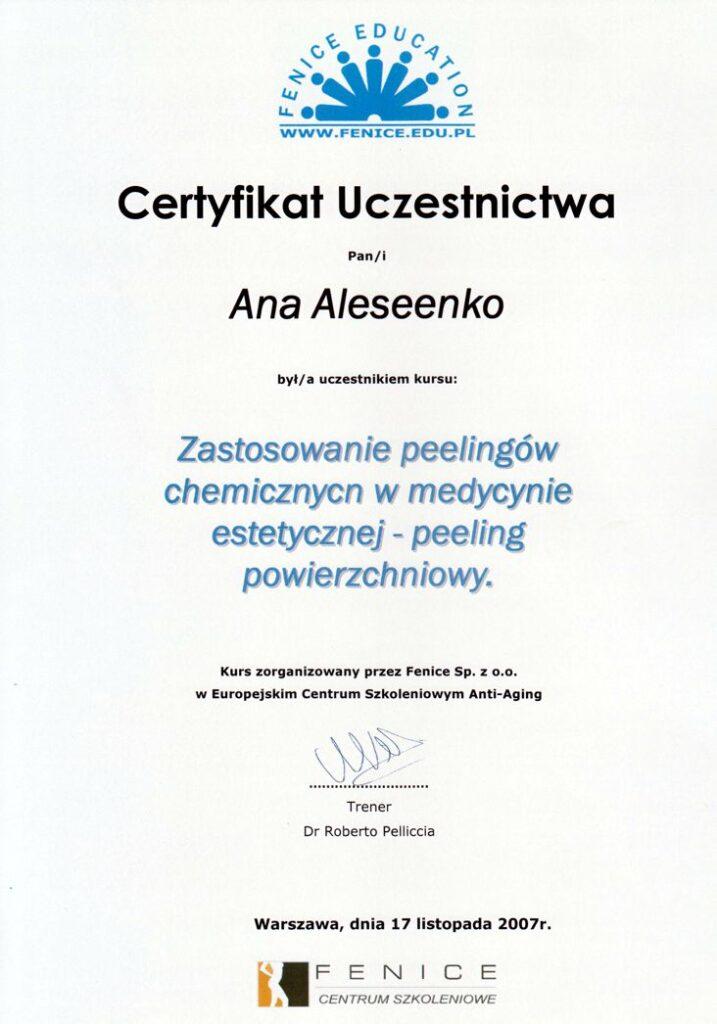 Zastosowanie peelingów chemicznych w medycynie estetycznej - peeling powierzchniowy - certyfikat