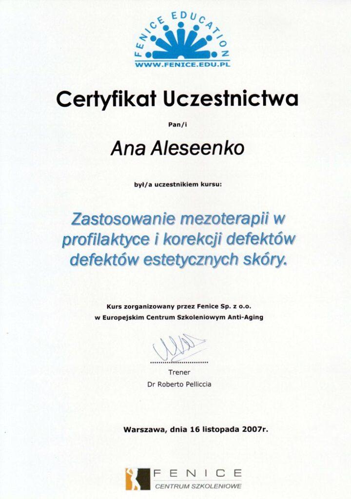 Zastosowanie mezoterapii w profilaktyce i korekcji defektów estetycznych skóry - certyfikat